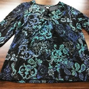 White stag black with blue flowers shirt large.